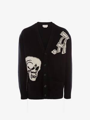 Cardigan en maille à intarsia gothique et Skull