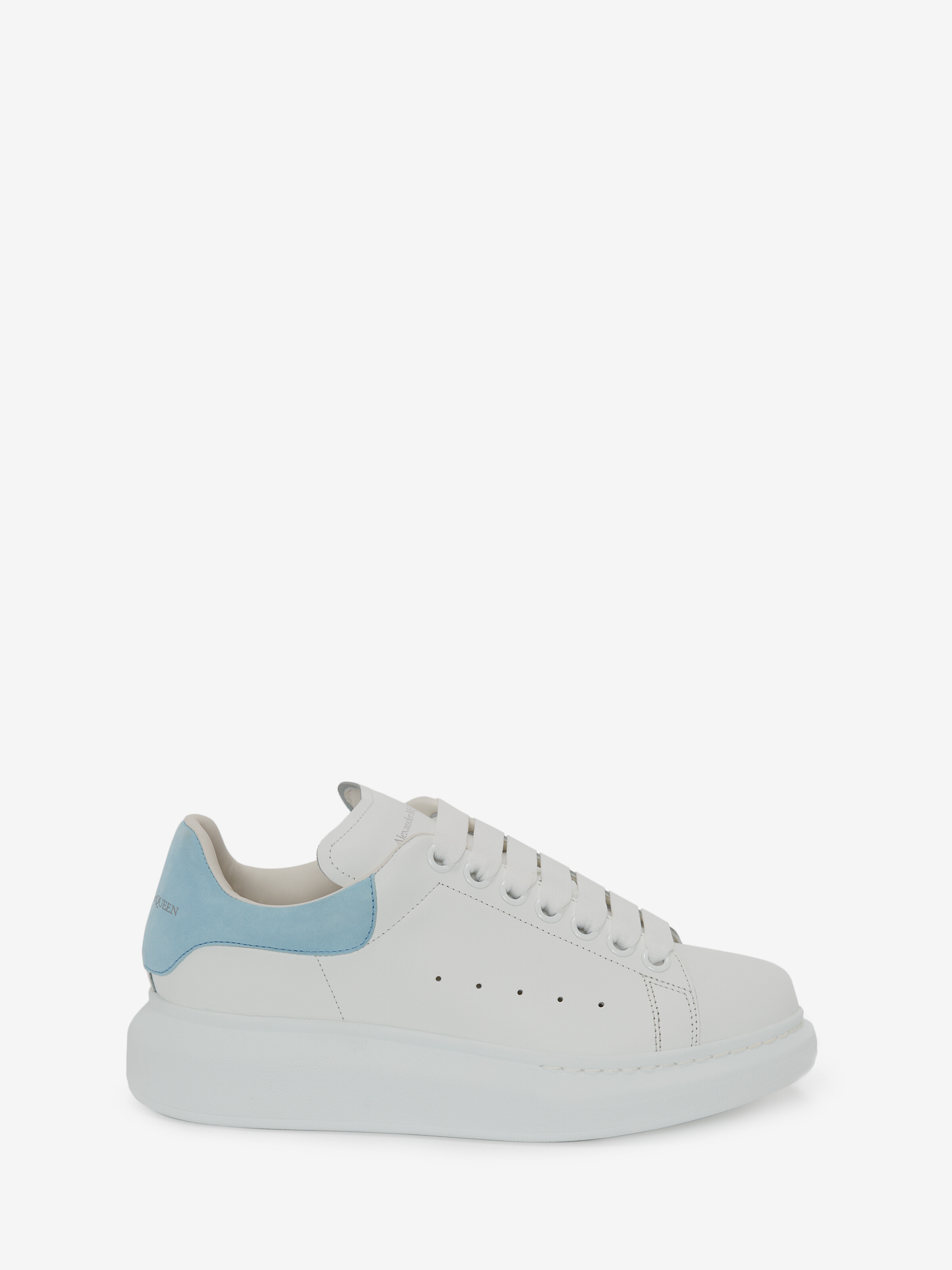 Alexander Mcqueen Suede-trimmed Leather Exaggerated-sole Sneakers In Light Indigo