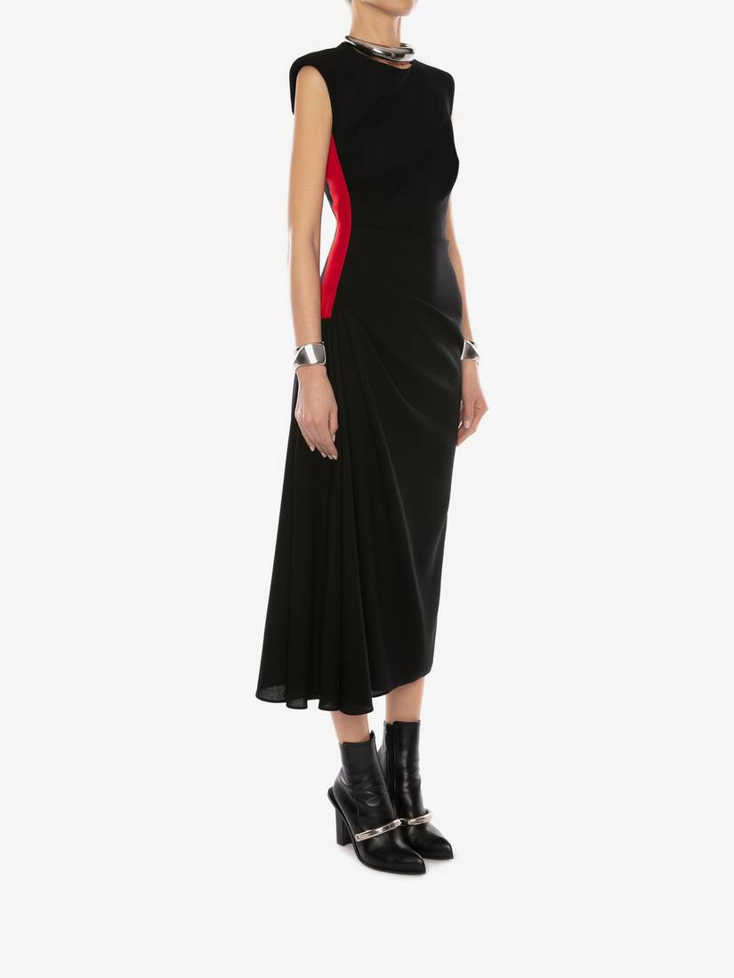 Display a large version of the product image 3 - Military Wool Crepe Midi Dress