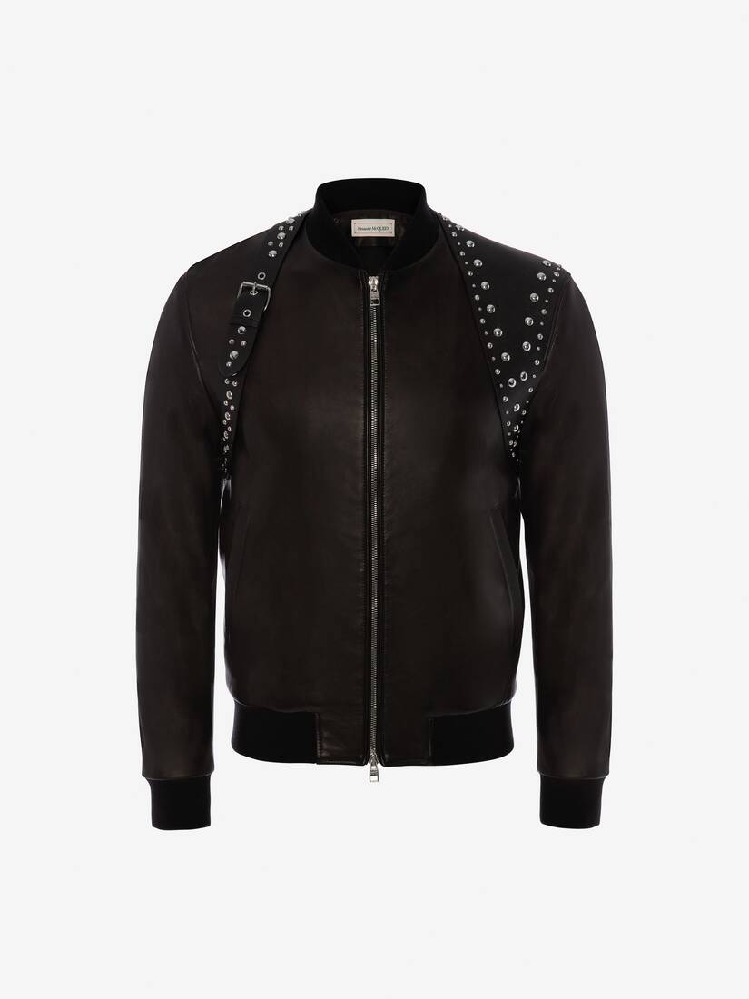 Display a large version of the product image 1 - Studded Harness Leather Bomber Jacket