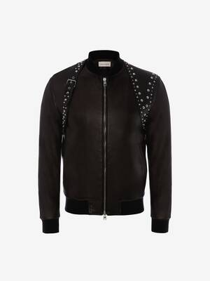 Studded Harness Leather Bomber Jacket