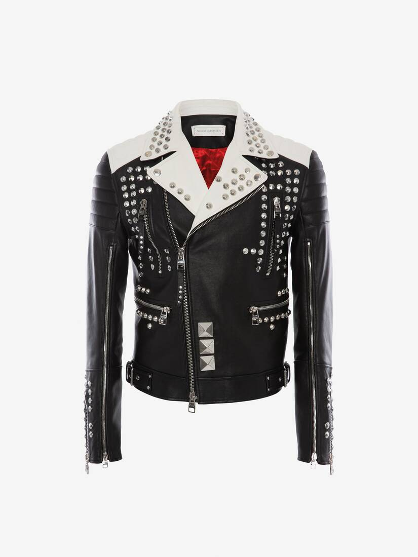 Display a large version of the product image 1 - Studded Leather Biker Jacket