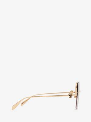 Skull Jewelled Square Sunglasses