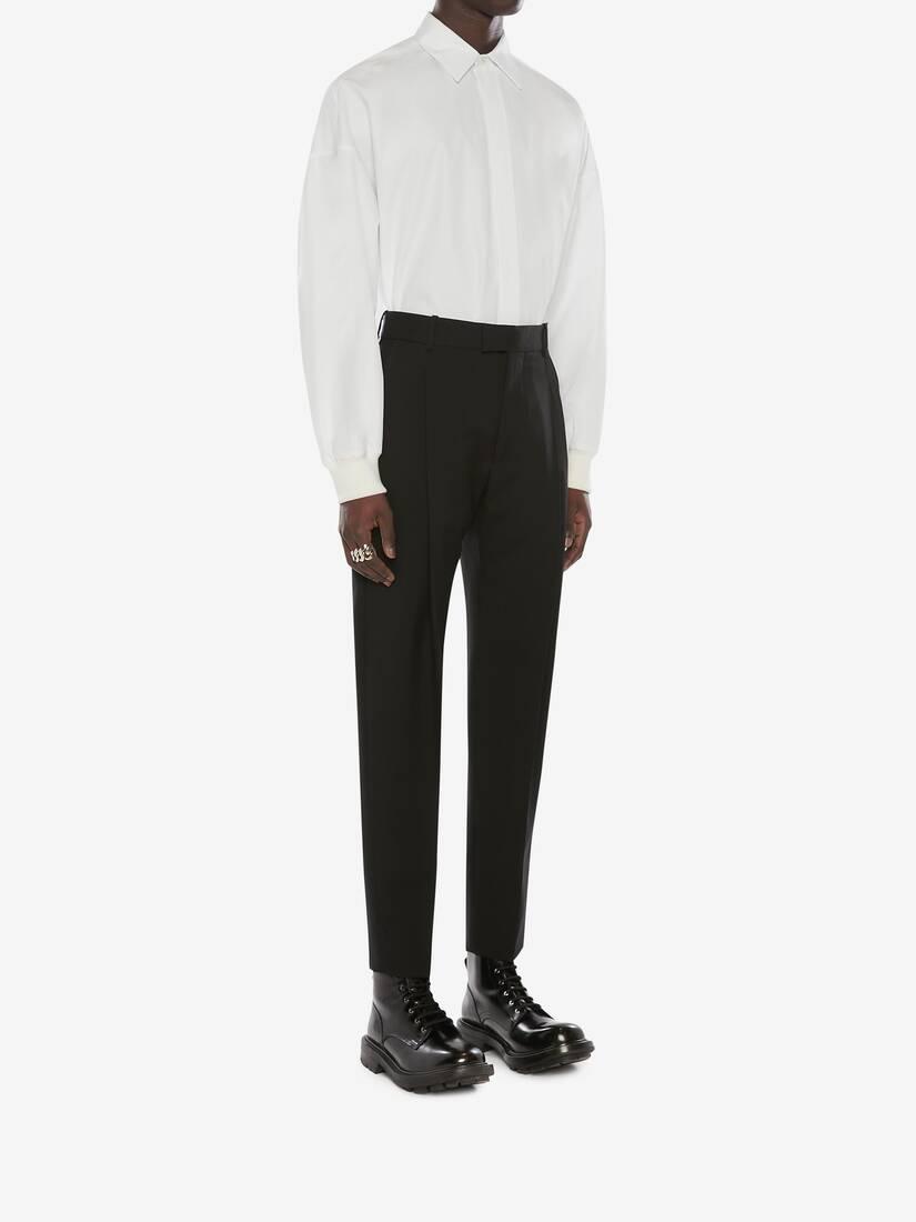 Wool Gabardine Pleated Trousers