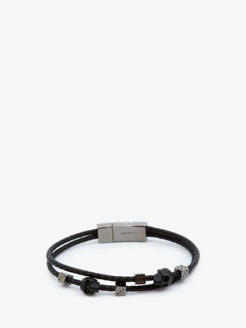 Display a large version of the product image 1 - Skull Braided Leather Bracelet