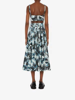 Solarized Floral Asymmetric Midi Skirt