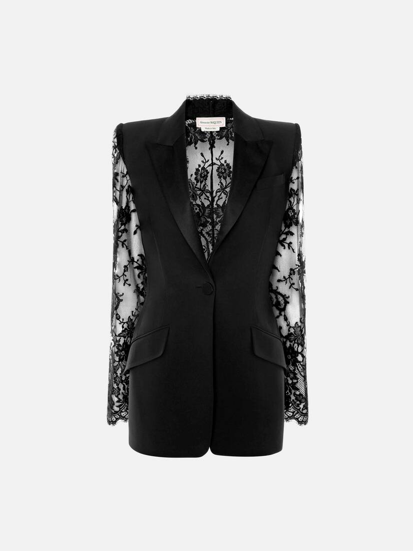 Display a large version of the product image 1 - Lace Sleeve Tuxedo Jacket