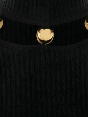 Metallic Sphere High-Neck Sweater