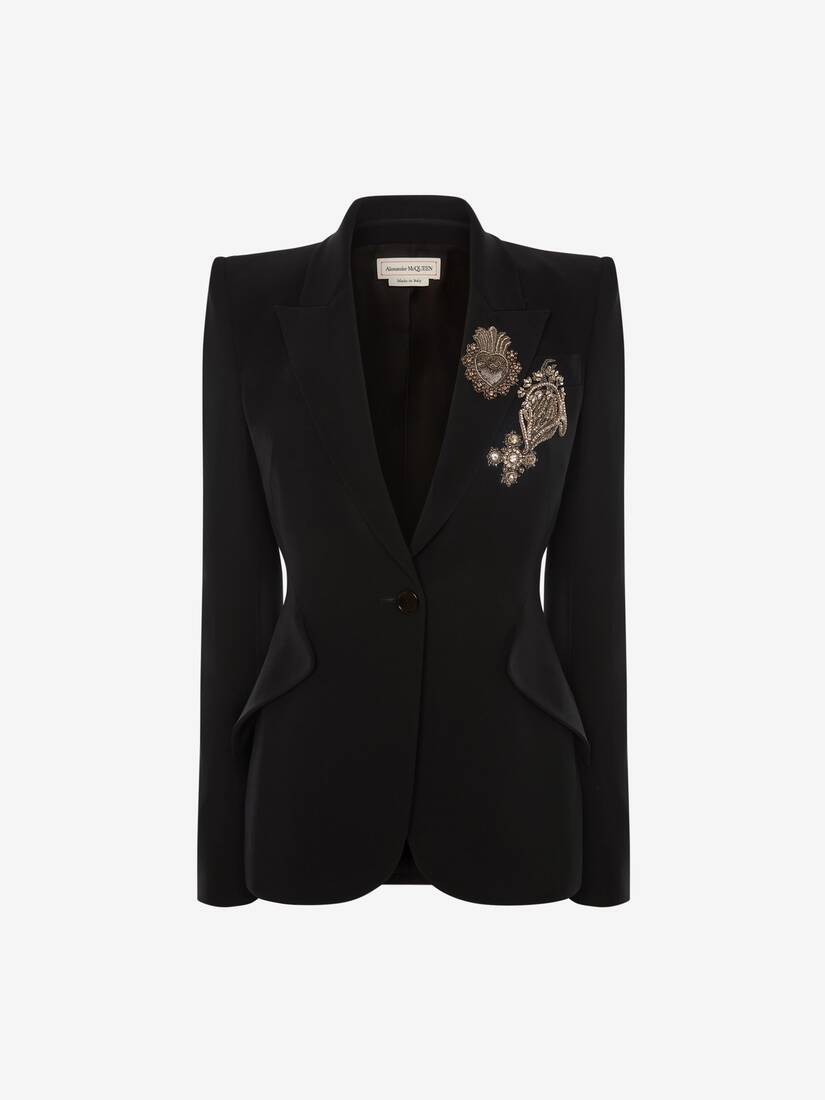 Display a large version of the product image 1 - Embroidered Leaf Crepe Jacket