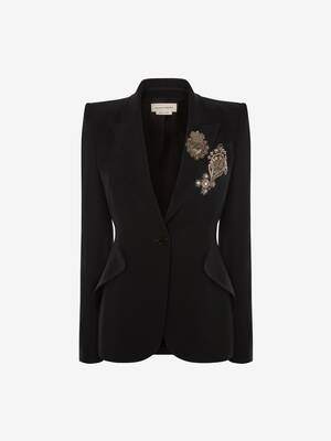 Embroidered Leaf Crepe Jacket