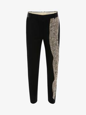 Molten Metal Embroidered Cigarette Trousers