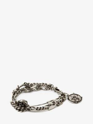 Safety Pin and Medallion Chain Bracelet