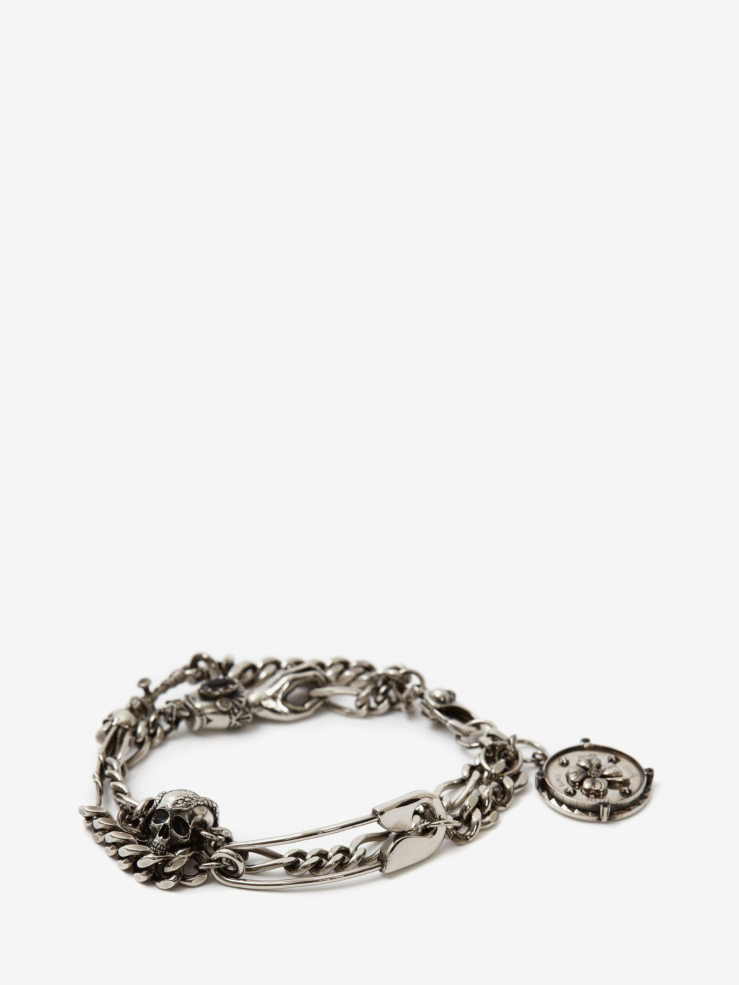 Alexander Mcqueen SAFETY PIN AND MEDALLION CHAIN BRACELET
