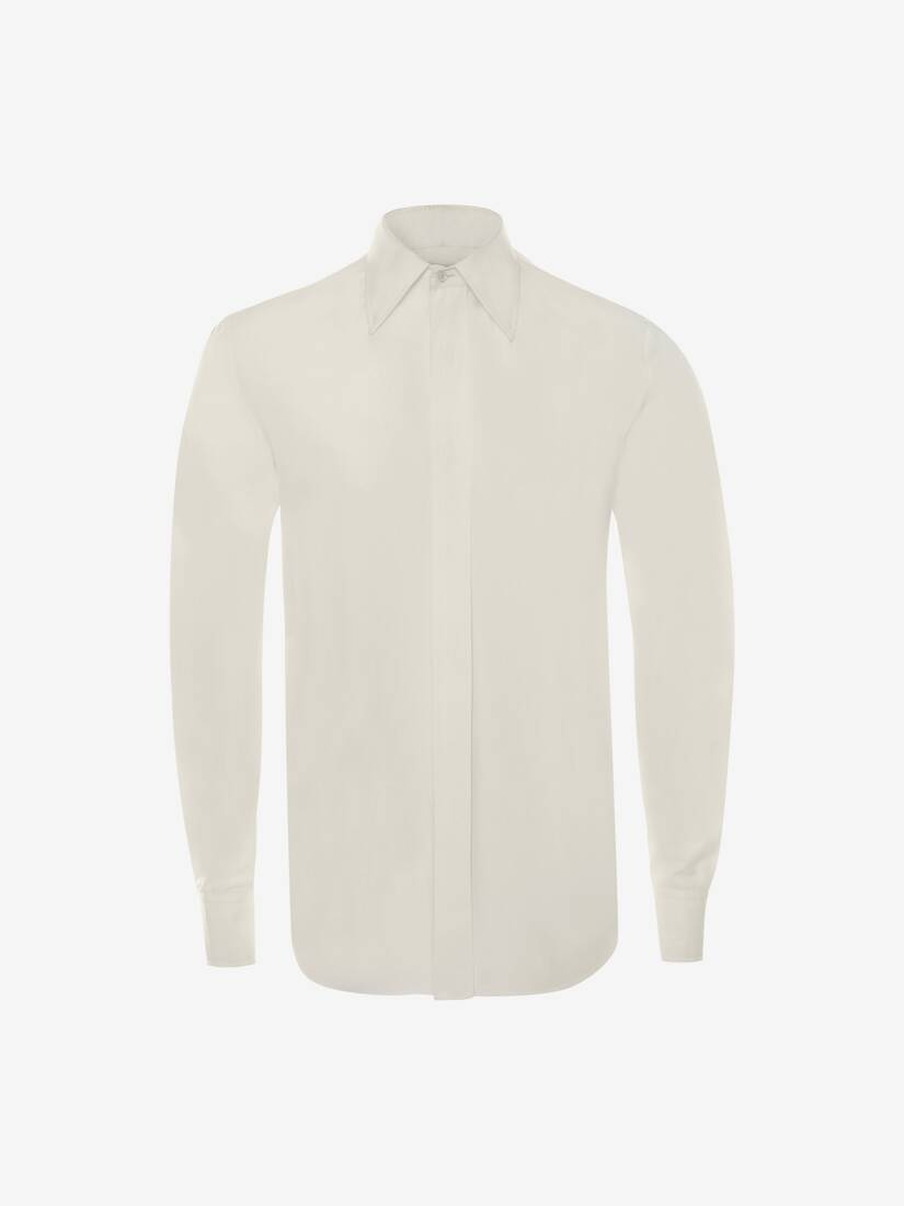 Pointy Collar Silk Poplin Shirt