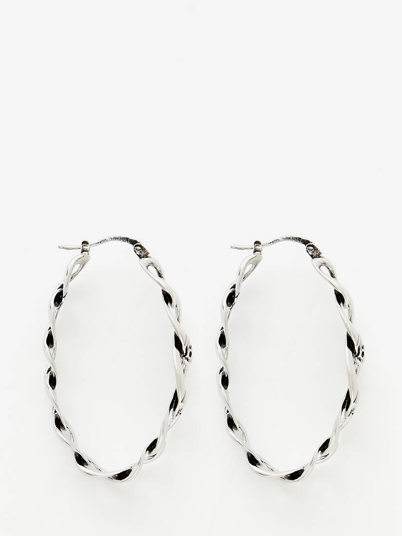 Chain and Skull Hoop Earring