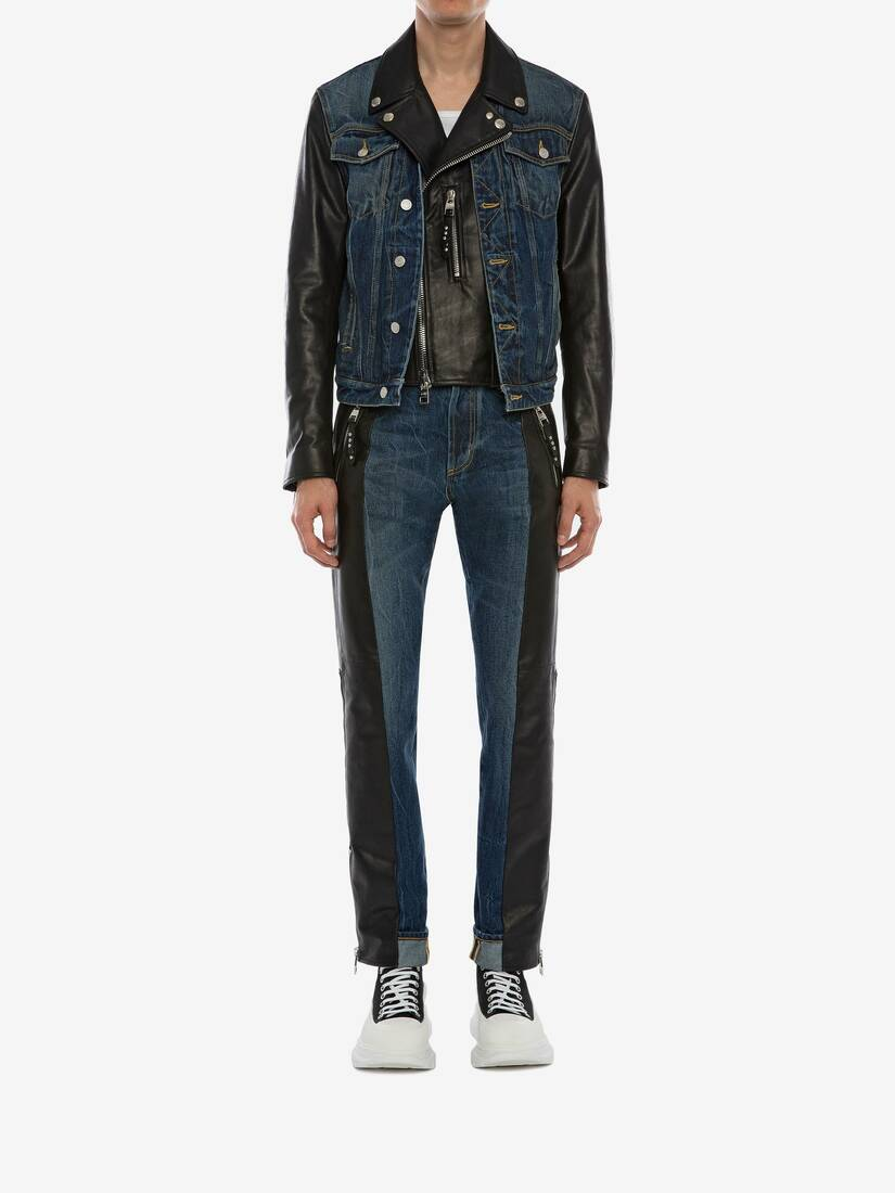 Display a large version of the product image 2 - Hybrid Denim Biker Jacket