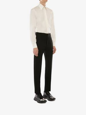 Wool Gabardine Cigarette Trousers