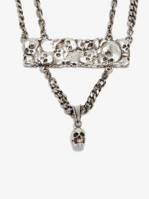 Multi Skull Double Layer Necklace