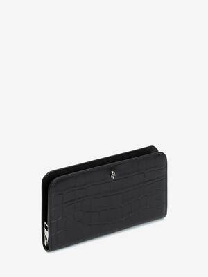 Embossed Croc Zip Wallet
