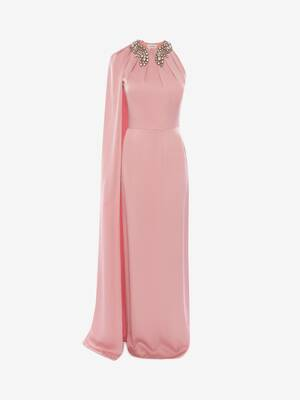 Cape Sleeve Evening Dress