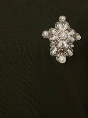 Maglione con Applicazione con Perle Ricamate