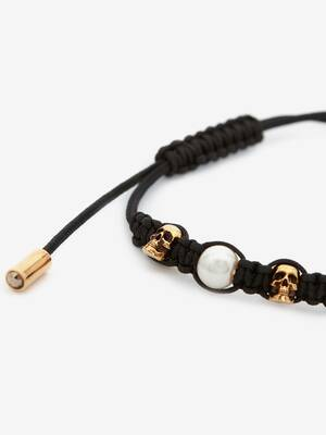 Pearly Skull Friendship Bracelet