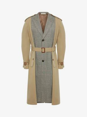 Spliced Tailored Trench Coat