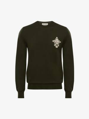 Embroidered Pearl Badge Jumper