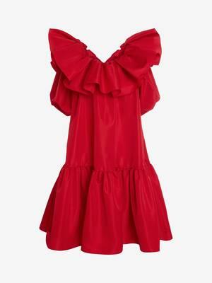 Exploded Ruffles Trapeze Midi Dress