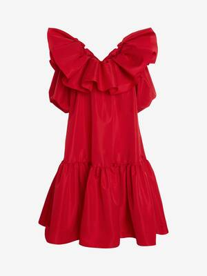 Exploded Ruffles Trapeze Midi Dress