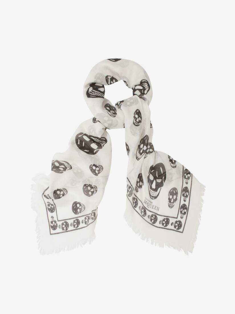 Display a large version of the product image 2 - Classic Silk Blend Skull Scarf
