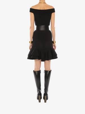오프 숄더 니트 미니 드레스