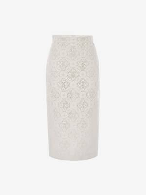 Endangered Flower Lace Pencil Skirt