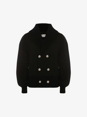 Double-Breasted Skeleton Knit Bomber