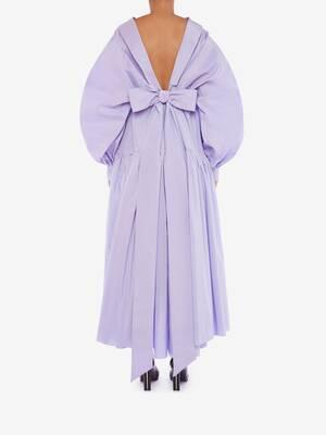 Abito con maniche blusanti in seta e cotone