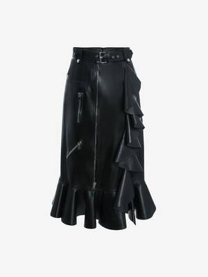 Leather Ruffles Pencil Skirt