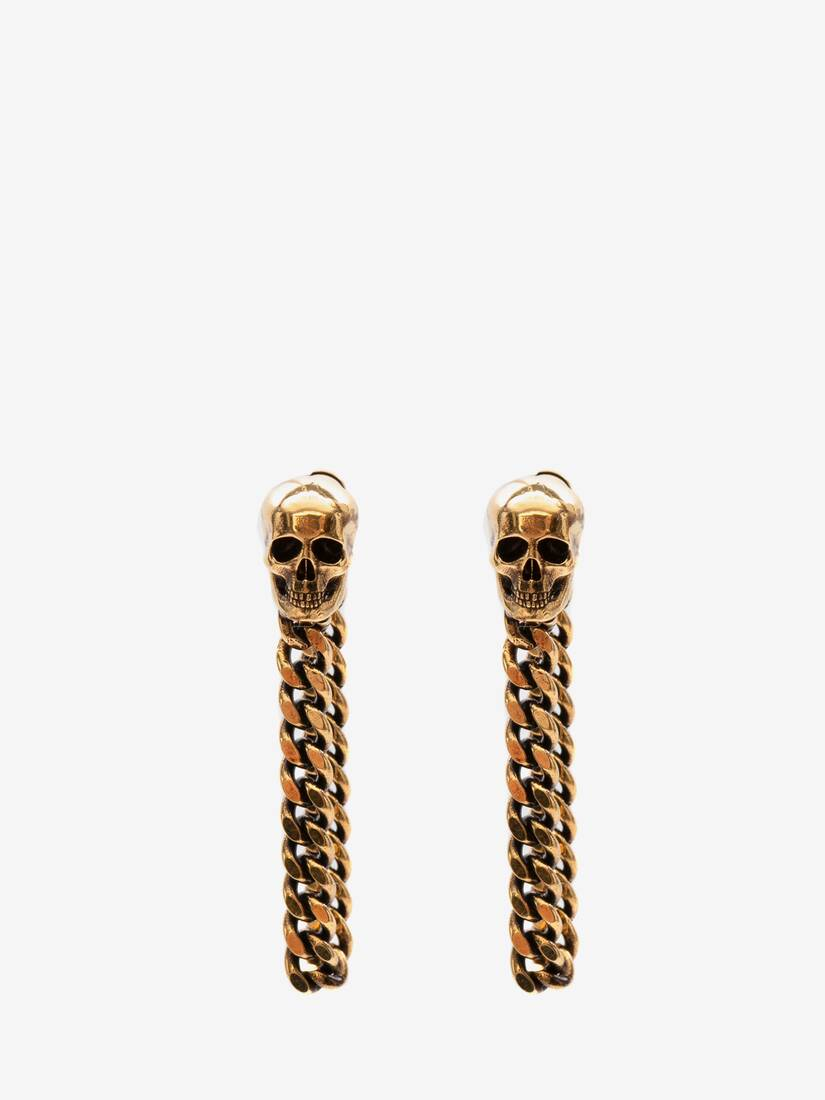 Display a large version of the product image 1 - Skull Charm Chain Earrings