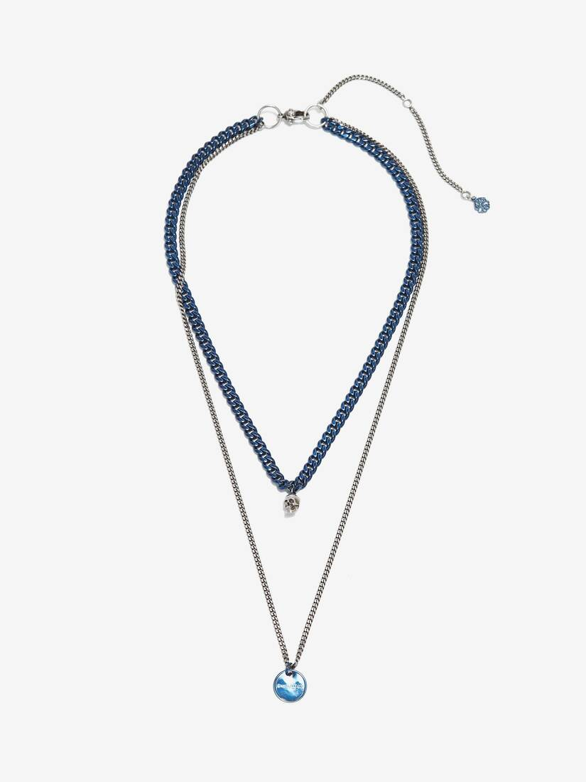 Blue Chrome Double Layer Necklace
