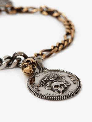 Crow and Skull Chain Bracelet
