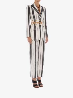 Linen Stripe Peg Trouser