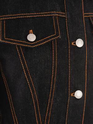 바이 컬러 페플럼 데님 재킷
