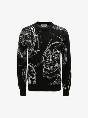 Painted Skulls Jacquard Jumper