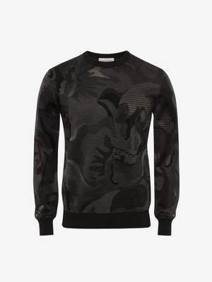 Skull-Pullover aus Camouflage-Jacquard