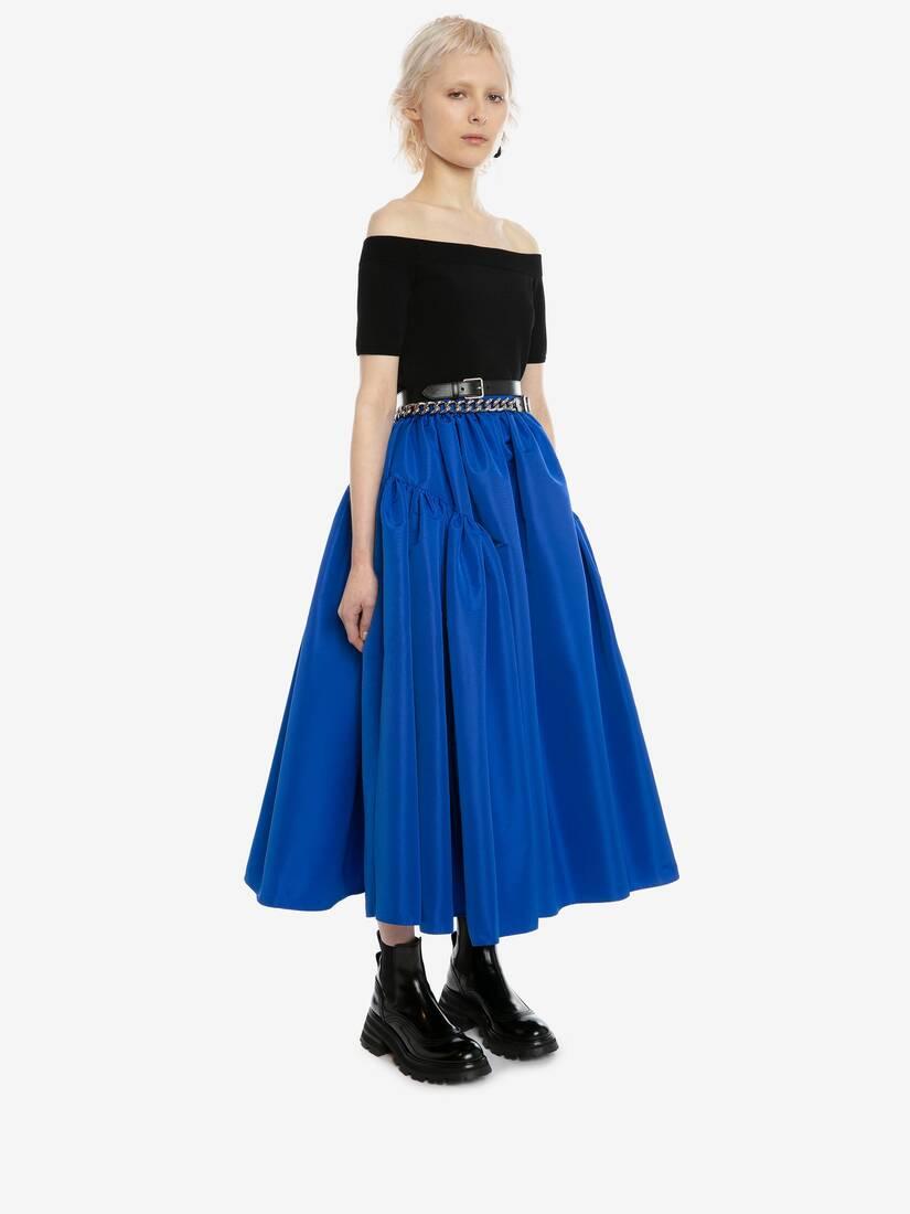Exploded Gathered Midi Skirt