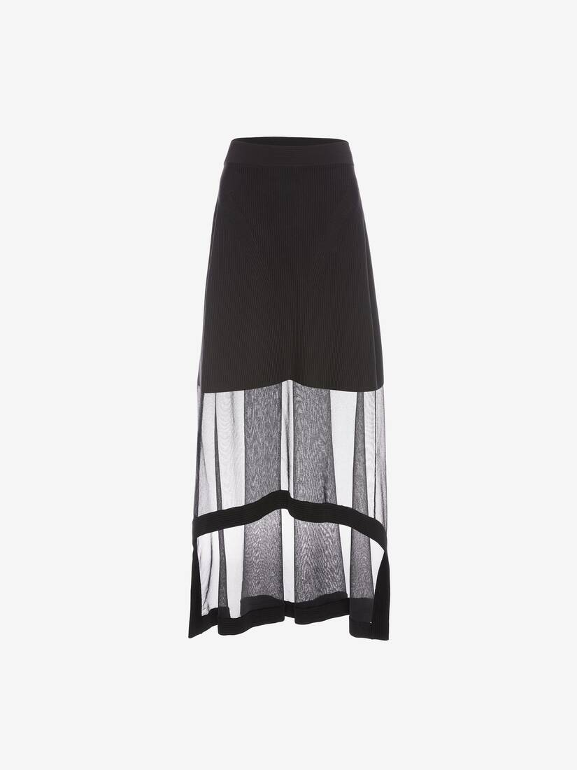 Display a large version of the product image 1 - Engineered Ribbed Knit Midi Skirt