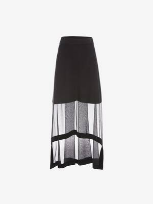 Engineered Ribbed Knit Midi Skirt