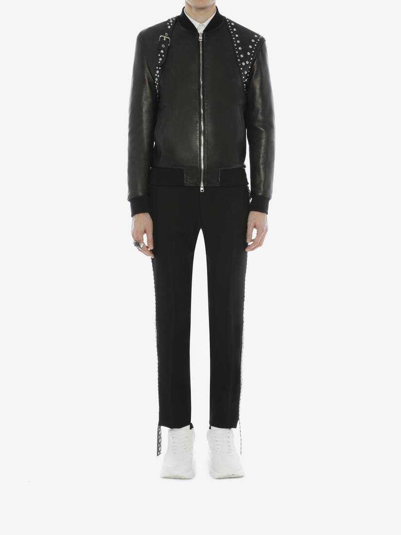 Display a large version of the product image 2 - Studded Harness Leather Bomber Jacket