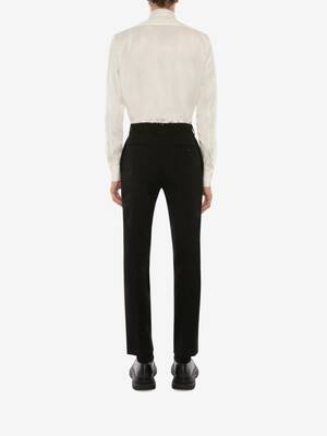 Wool Gabardine Cigarette Pants