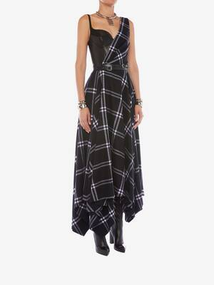 Asymmetric Check Blanket Dress