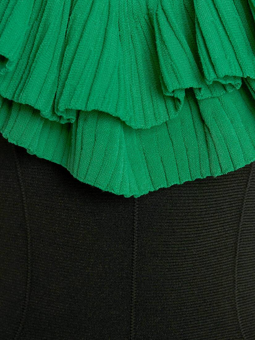 Sculptural Ruffles Knit Midi Dress